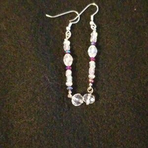 Jewelry - Red & Clear Swarski/Glass earrings